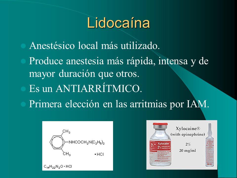 Lidocaína Anestésico local más utilizado.
