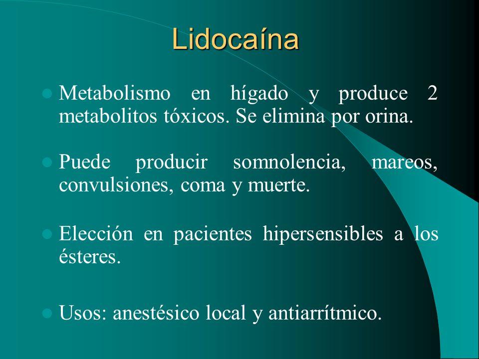 Lidocaína Metabolismo en hígado y produce 2 metabolitos tóxicos. Se elimina por orina.