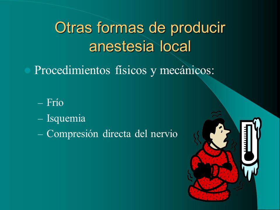 Otras formas de producir anestesia local