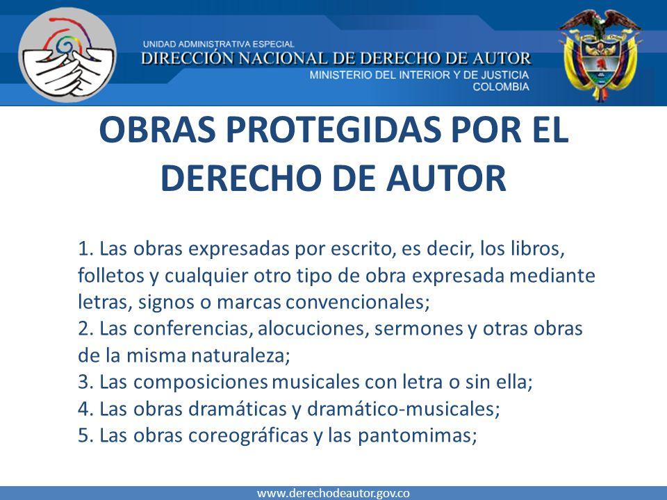 OBRAS PROTEGIDAS POR EL DERECHO DE AUTOR