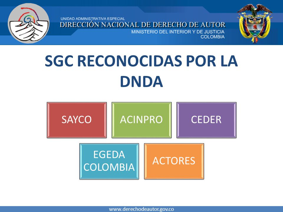 SGC RECONOCIDAS POR LA DNDA