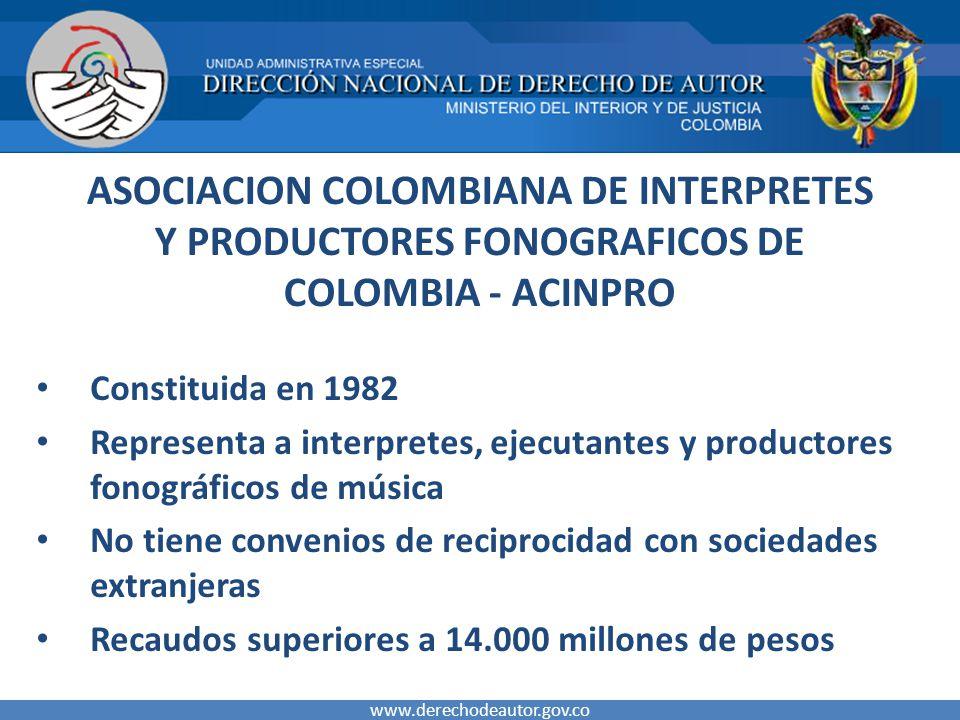ASOCIACION COLOMBIANA DE INTERPRETES Y PRODUCTORES FONOGRAFICOS DE COLOMBIA - ACINPRO