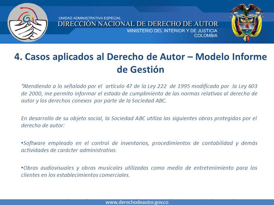 4. Casos aplicados al Derecho de Autor – Modelo Informe de Gestión