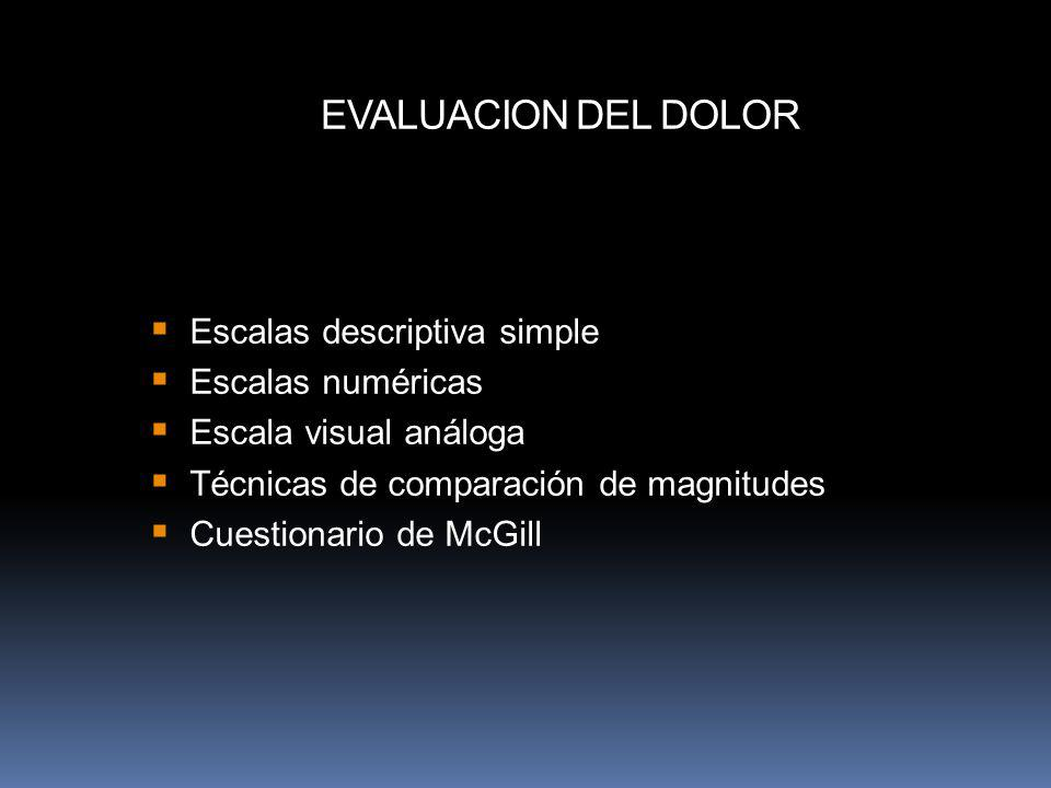 EVALUACION DEL DOLOR Escalas descriptiva simple Escalas numéricas
