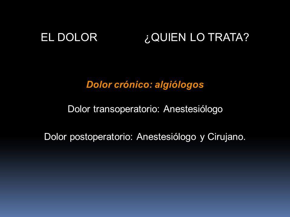 Dolor crónico: algiólogos