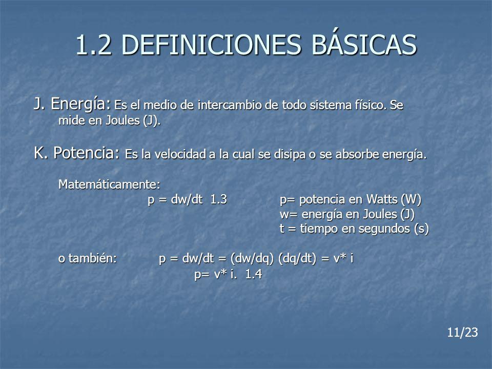 1.2 DEFINICIONES BÁSICAS J. Energía: Es el medio de intercambio de todo sistema físico. Se. mide en Joules (J).