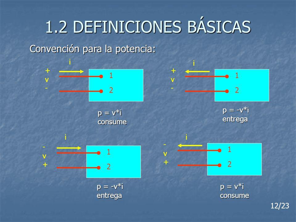1.2 DEFINICIONES BÁSICAS Convención para la potencia: i i + v - + v -