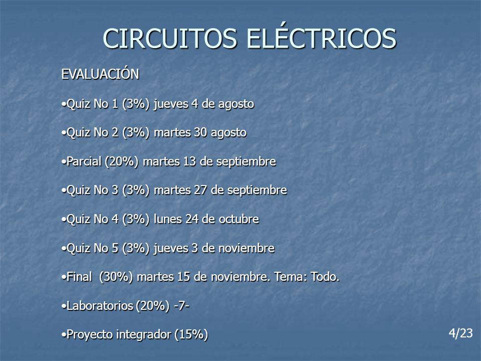 CIRCUITOS ELÉCTRICOS EVALUACIÓN Quiz No 1 (3%) jueves 4 de agosto