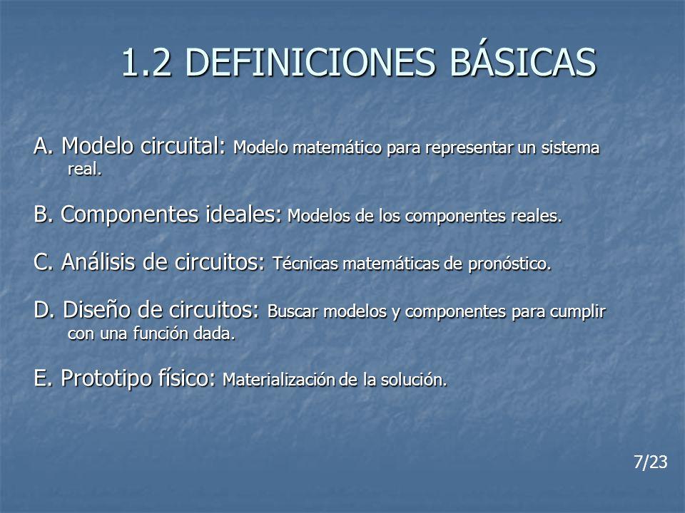 1.2 DEFINICIONES BÁSICAS A. Modelo circuital: Modelo matemático para representar un sistema. real.