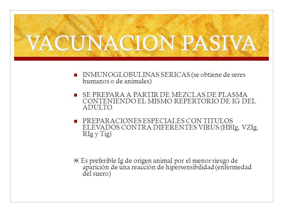 VACUNACION PASIVA INMUNOGLOBULINAS SERICAS (se obtiene de seres humanos o de animales)