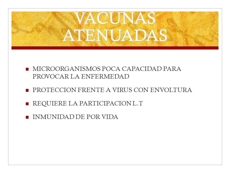 VACUNAS ATENUADAS MICROORGANISMOS POCA CAPACIDAD PARA PROVOCAR LA ENFERMEDAD. PROTECCION FRENTE A VIRUS CON ENVOLTURA.