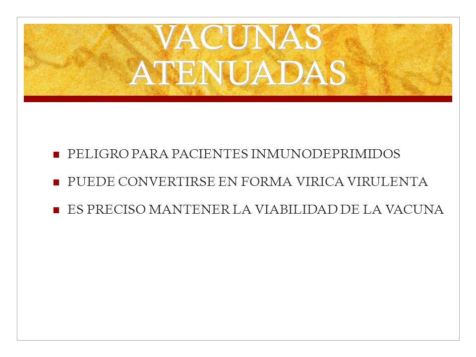 VACUNAS ATENUADAS PELIGRO PARA PACIENTES INMUNODEPRIMIDOS