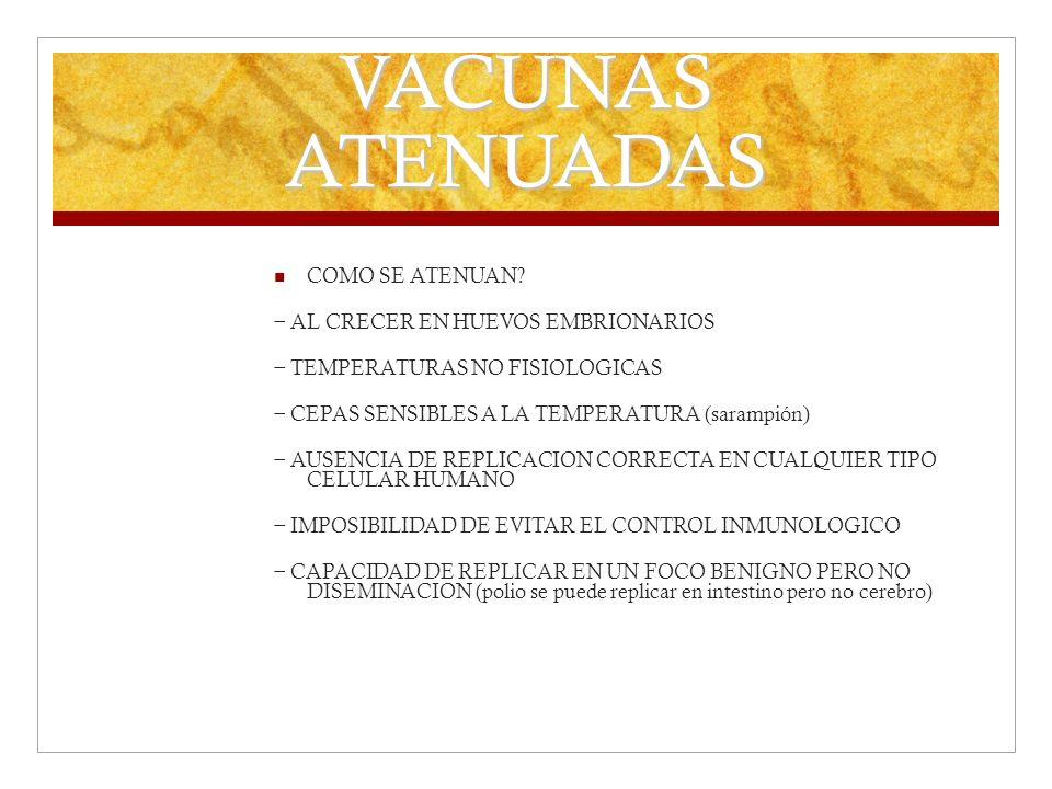 VACUNAS ATENUADAS COMO SE ATENUAN − AL CRECER EN HUEVOS EMBRIONARIOS