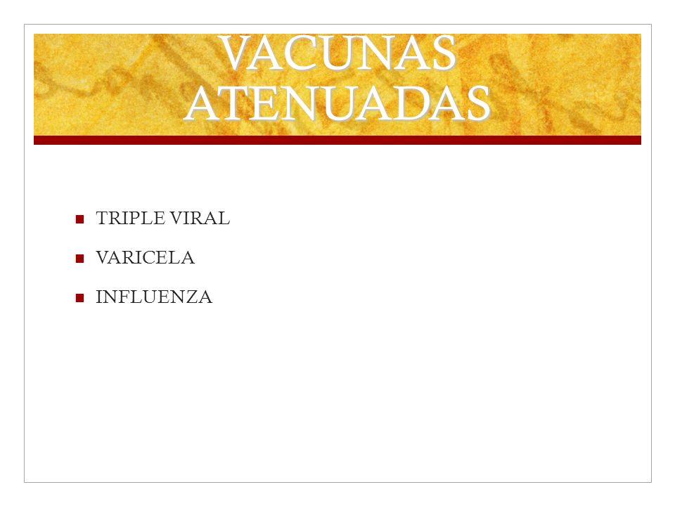 VACUNAS ATENUADAS TRIPLE VIRAL VARICELA INFLUENZA