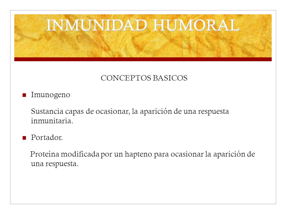 INMUNIDAD HUMORAL CONCEPTOS BASICOS Imunogeno