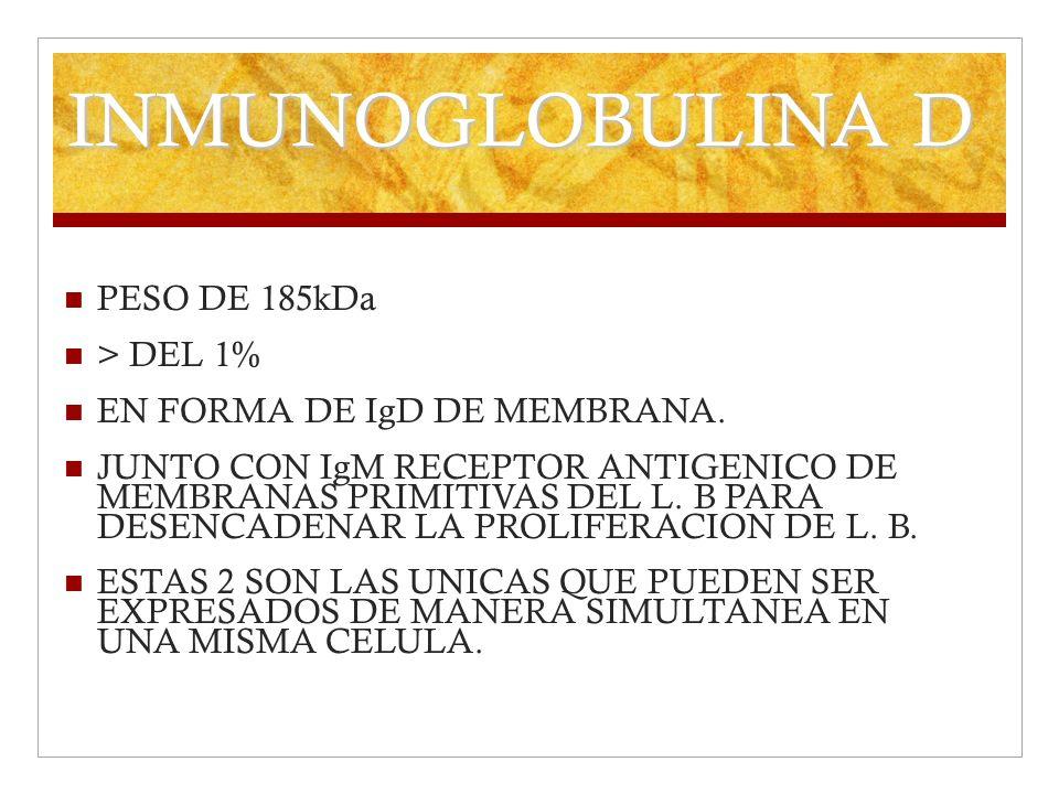 INMUNOGLOBULINA D PESO DE 185kDa > DEL 1%