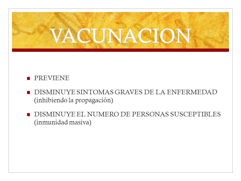 VACUNACION PREVIENE. DISMINUYE SINTOMAS GRAVES DE LA ENFERMEDAD (inhibiendo la propagación)