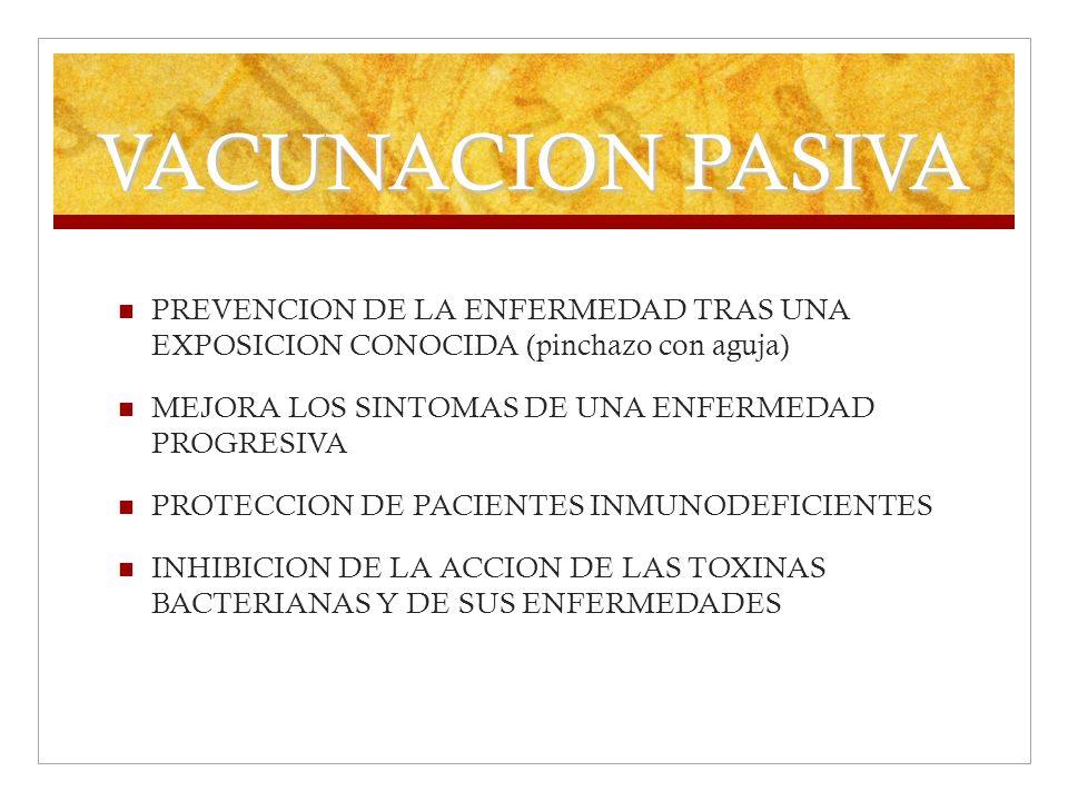 VACUNACION PASIVA PREVENCION DE LA ENFERMEDAD TRAS UNA EXPOSICION CONOCIDA (pinchazo con aguja) MEJORA LOS SINTOMAS DE UNA ENFERMEDAD PROGRESIVA.