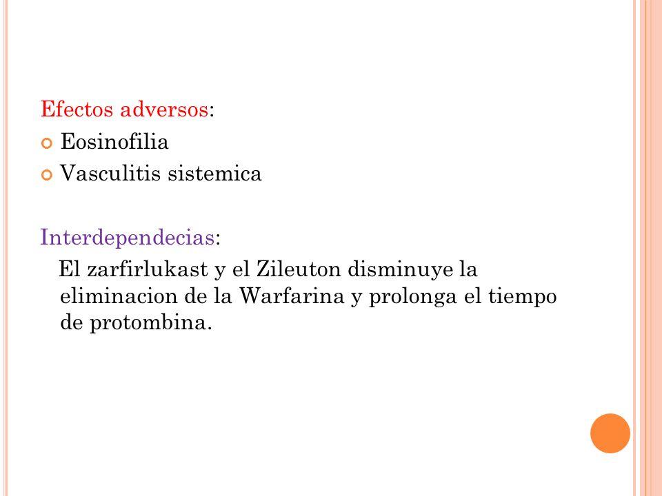 Efectos adversos: Eosinofilia. Vasculitis sistemica. Interdependecias: