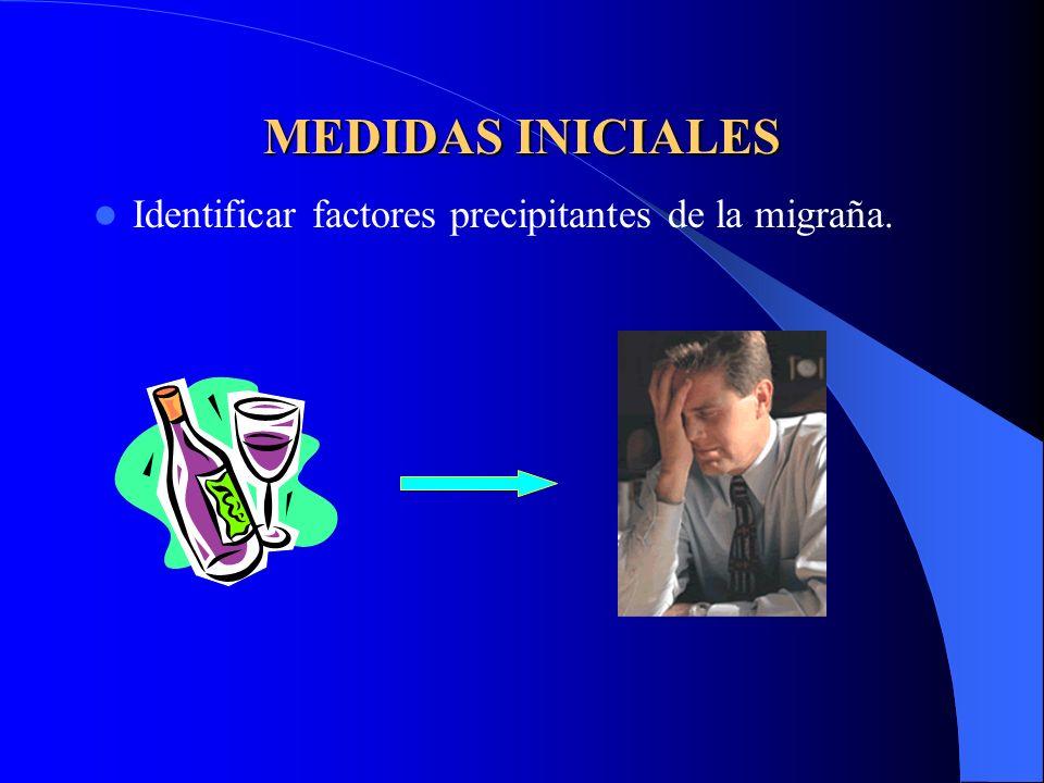 MEDIDAS INICIALES Identificar factores precipitantes de la migraña.