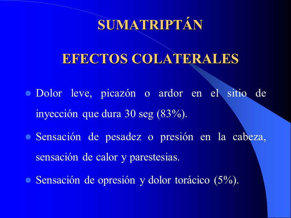 SUMATRIPTÁN EFECTOS COLATERALES