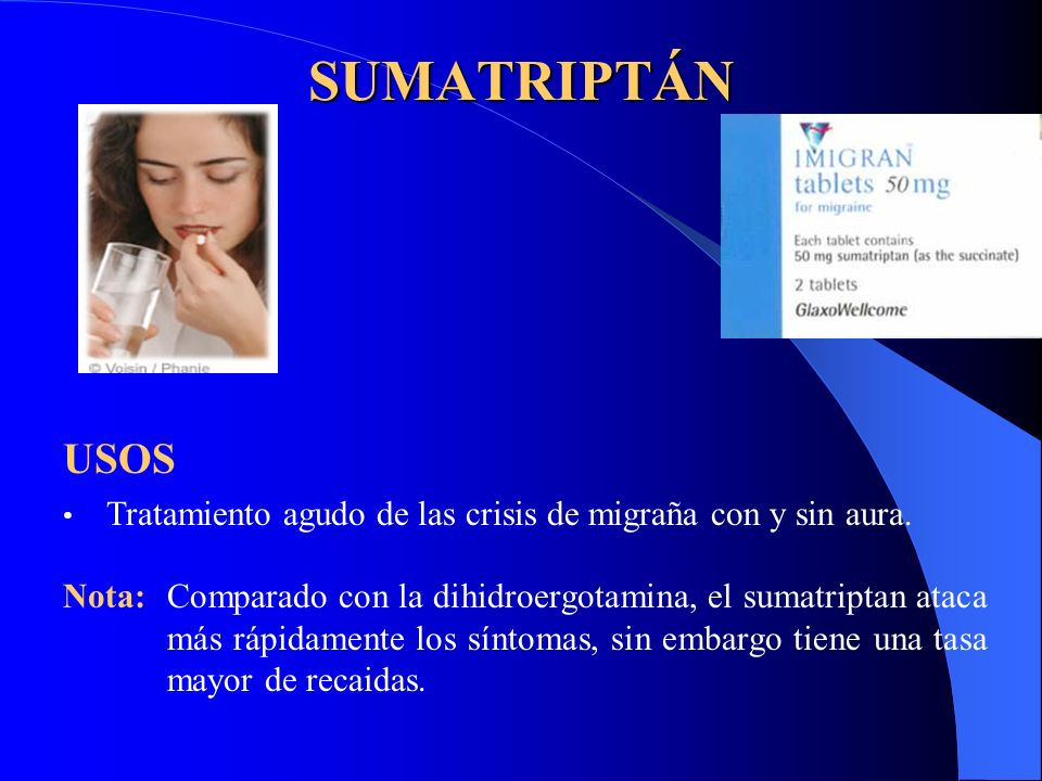 SUMATRIPTÁN USOS. Tratamiento agudo de las crisis de migraña con y sin aura.