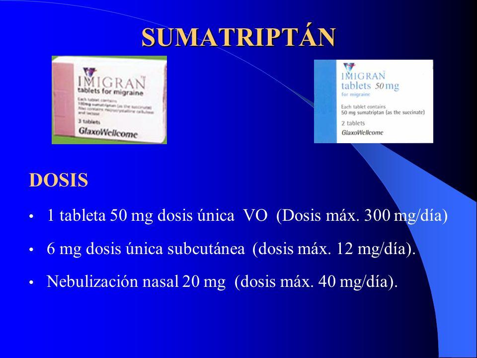 SUMATRIPTÁN DOSIS. 1 tableta 50 mg dosis única VO (Dosis máx. 300 mg/día) 6 mg dosis única subcutánea (dosis máx. 12 mg/día).