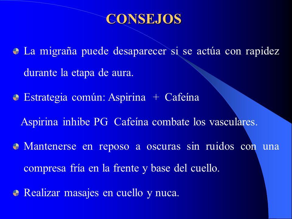 CONSEJOS La migraña puede desaparecer si se actúa con rapidez durante la etapa de aura. Estrategia común: Aspirina + Cafeína.