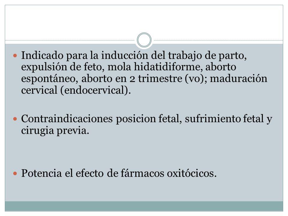 Indicado para la inducción del trabajo de parto, expulsión de feto, mola hidatidiforme, aborto espontáneo, aborto en 2 trimestre (vo); maduración cervical (endocervical).