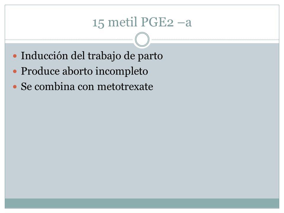 15 metil PGE2 –a Inducción del trabajo de parto