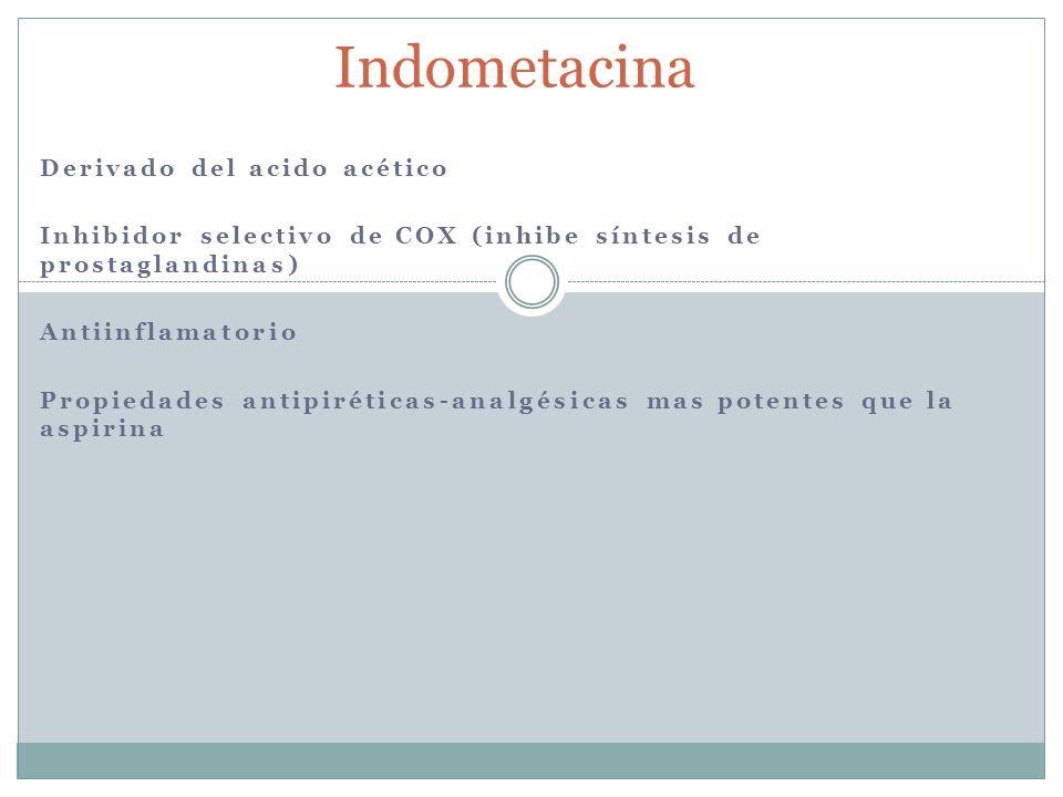 Indometacina Derivado del acido acético