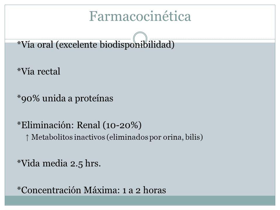 Farmacocinética *Vía oral (excelente biodisponibilidad) *Vía rectal