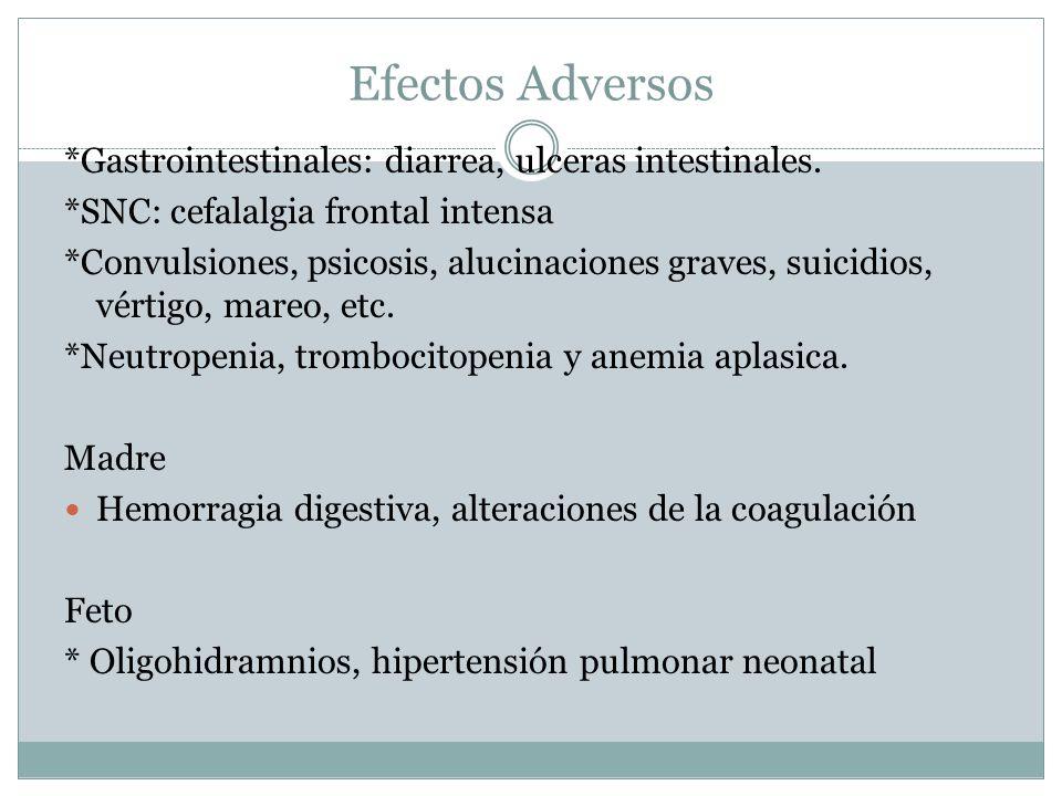 Efectos Adversos *Gastrointestinales: diarrea, ulceras intestinales.