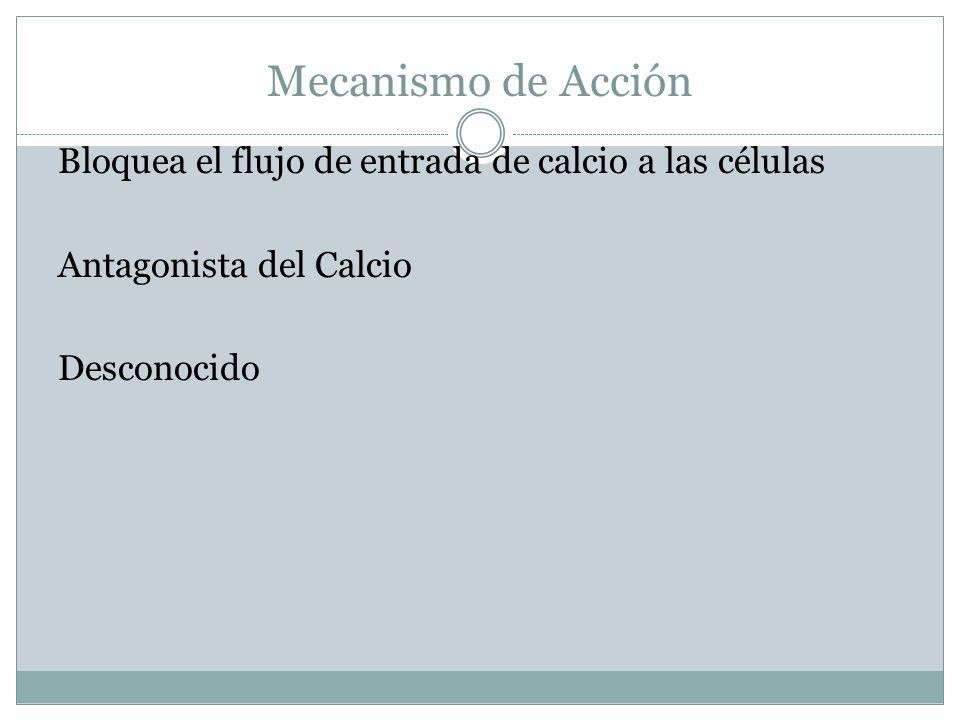 Mecanismo de Acción Bloquea el flujo de entrada de calcio a las células.