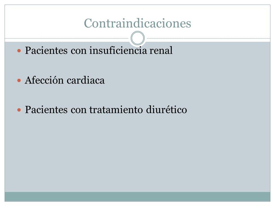 Contraindicaciones Pacientes con insuficiencia renal Afección cardiaca