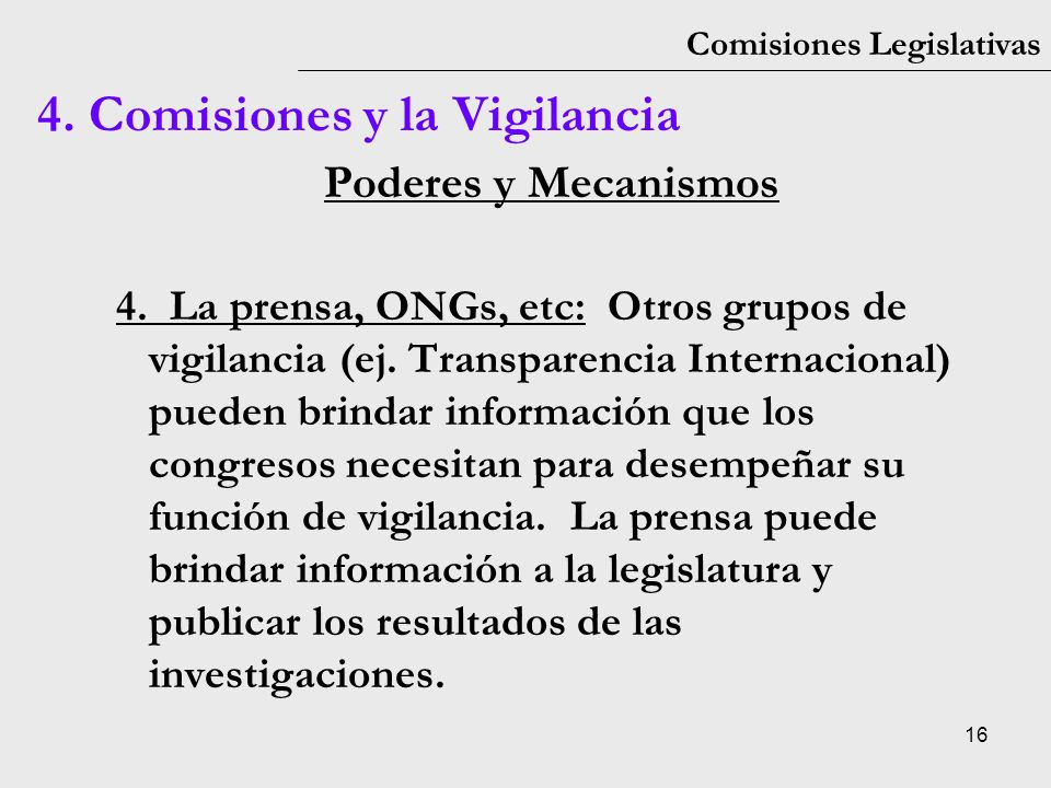 4. Comisiones y la Vigilancia