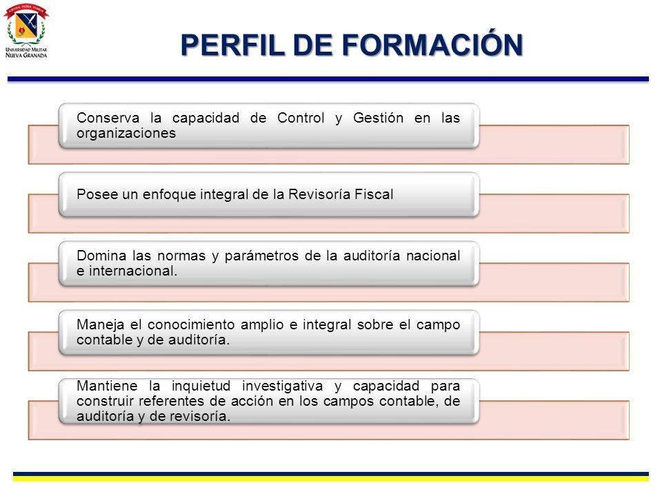 PERFIL DE FORMACIÓN Conserva la capacidad de Control y Gestión en las organizaciones. Posee un enfoque integral de la Revisoría Fiscal.