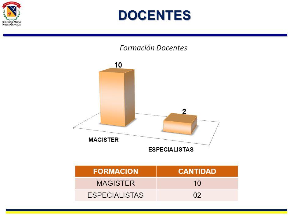 DOCENTES Formación Docentes FORMACION CANTIDAD MAGISTER 10