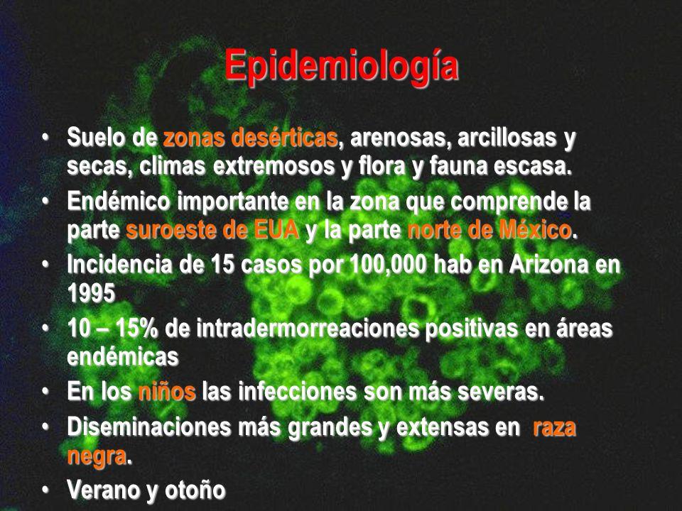 Epidemiología Suelo de zonas desérticas, arenosas, arcillosas y secas, climas extremosos y flora y fauna escasa.