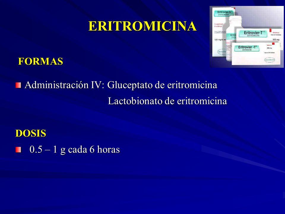 ERITROMICINA FORMAS Administración IV: Gluceptato de eritromicina