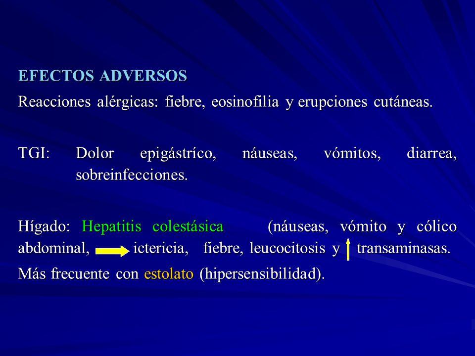 EFECTOS ADVERSOSReacciones alérgicas: fiebre, eosinofilia y erupciones cutáneas.