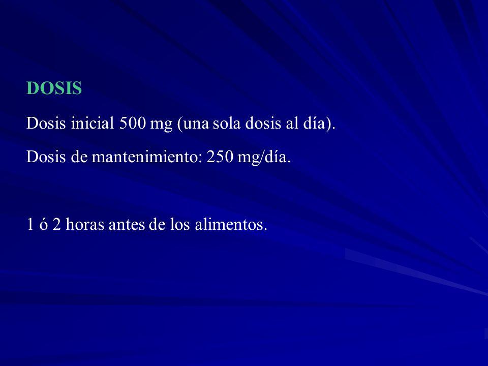 DOSIS Dosis inicial 500 mg (una sola dosis al día).