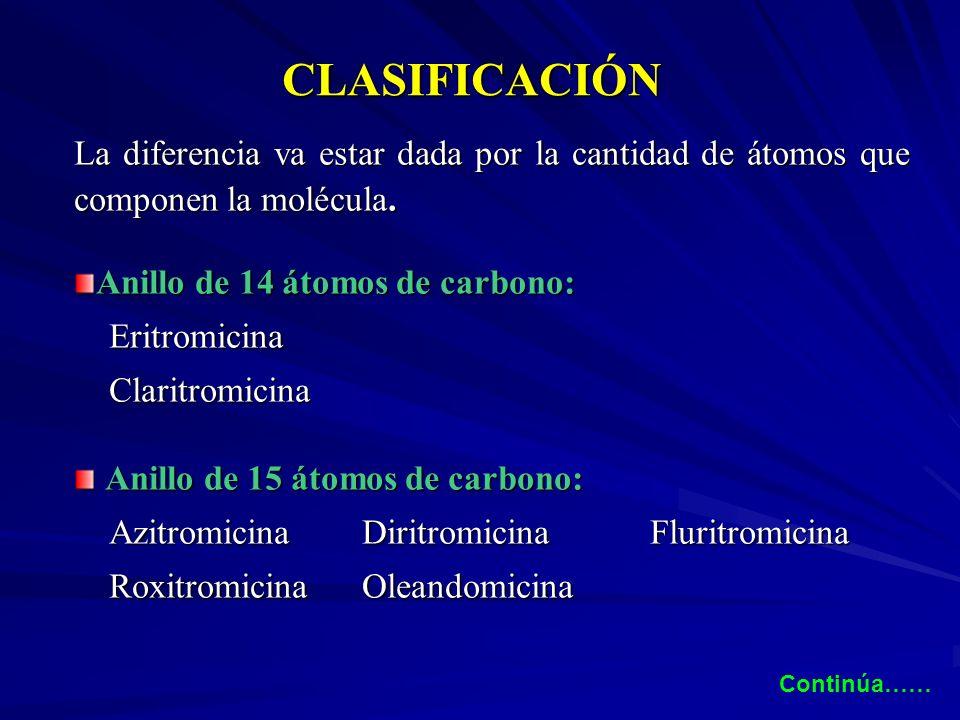 CLASIFICACIÓN La diferencia va estar dada por la cantidad de átomos que componen la molécula. Anillo de 14 átomos de carbono: