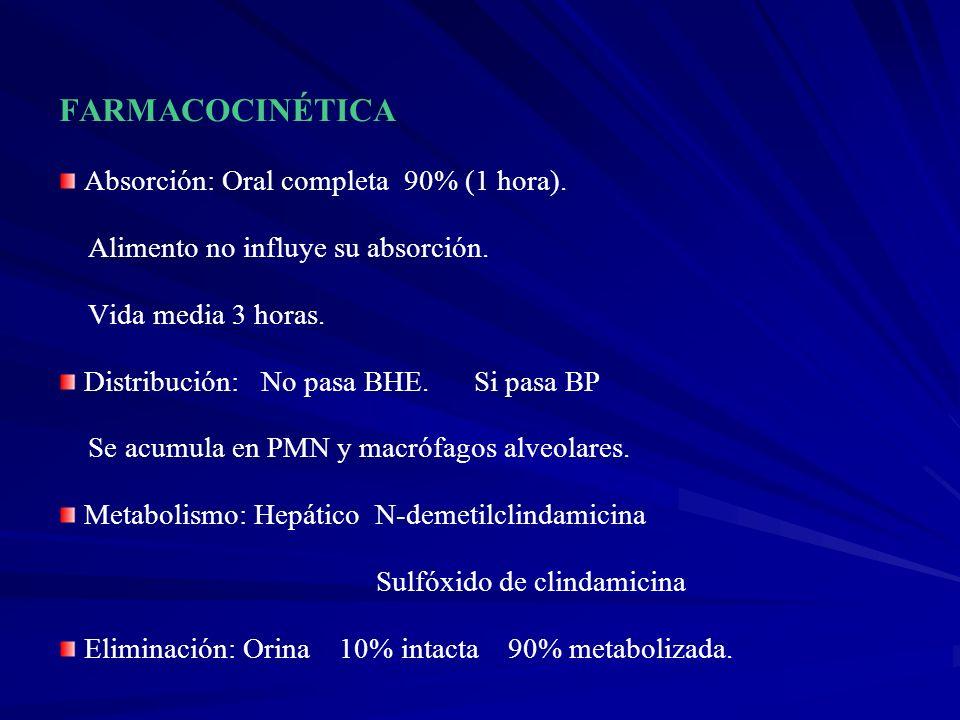 FARMACOCINÉTICA Absorción: Oral completa 90% (1 hora).