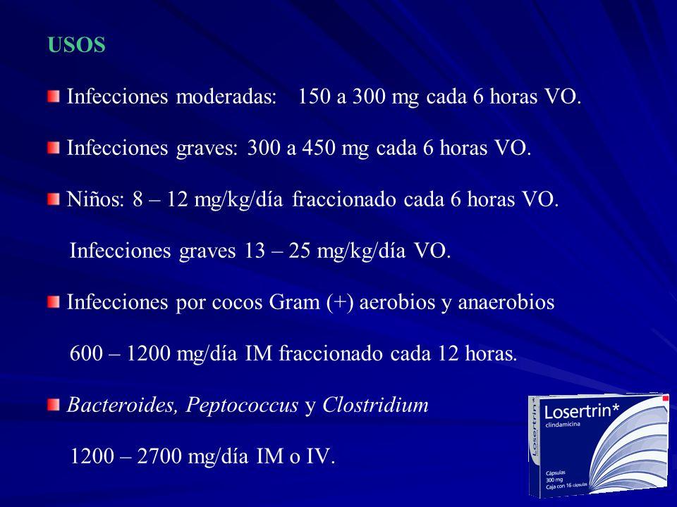 USOS Infecciones moderadas: 150 a 300 mg cada 6 horas VO. Infecciones graves: 300 a 450 mg cada 6 horas VO.