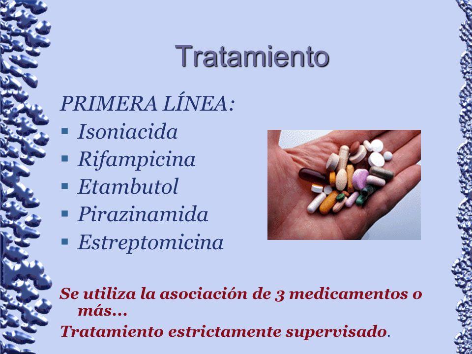 Tratamiento PRIMERA LÍNEA: Isoniacida Rifampicina Etambutol