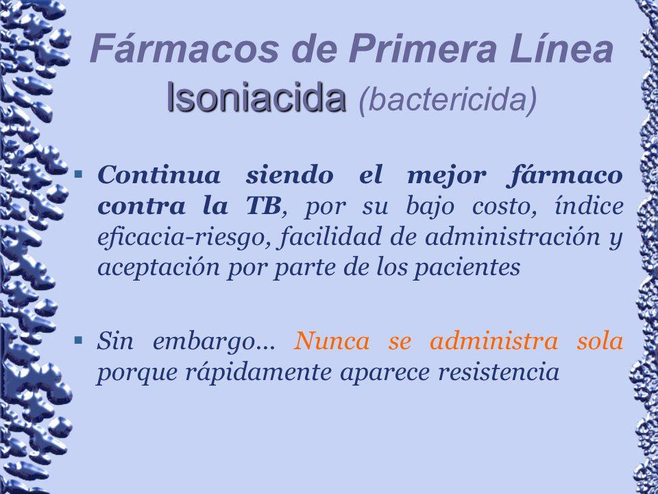 Fármacos de Primera Línea Isoniacida (bactericida)