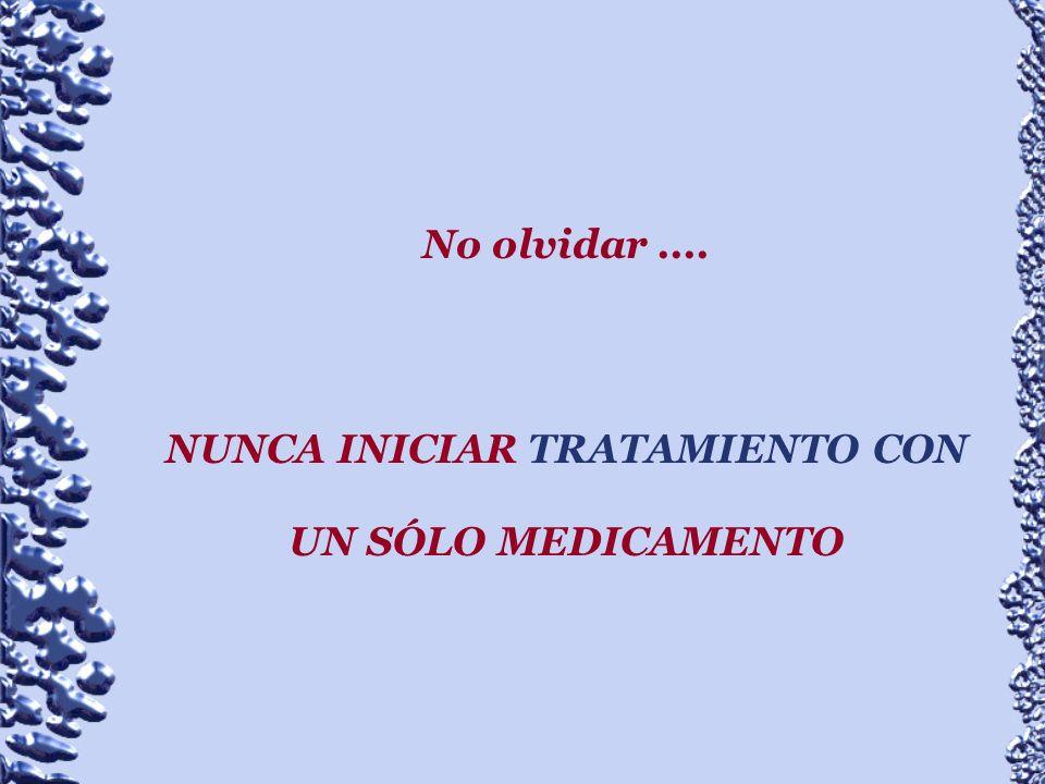 NUNCA INICIAR TRATAMIENTO CON UN SÓLO MEDICAMENTO
