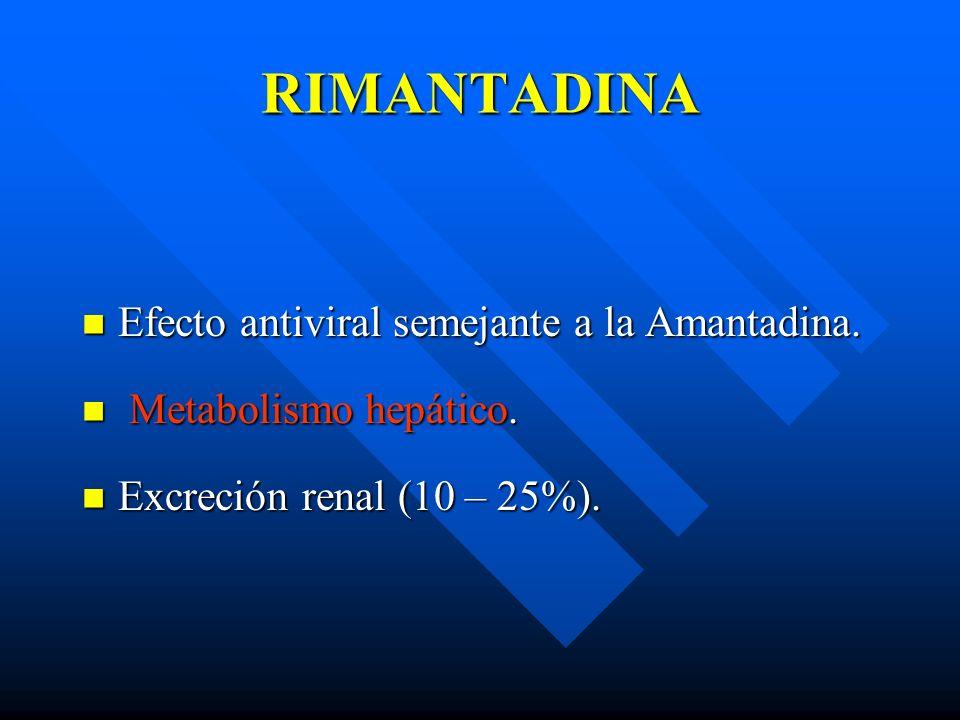 RIMANTADINA Efecto antiviral semejante a la Amantadina.