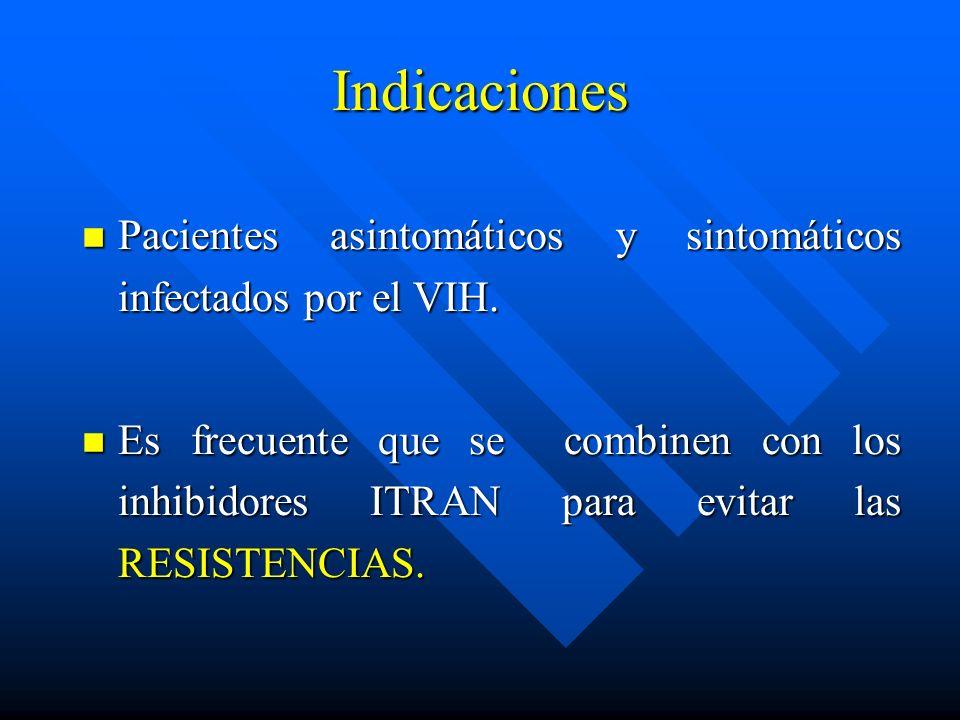 Indicaciones Pacientes asintomáticos y sintomáticos infectados por el VIH.
